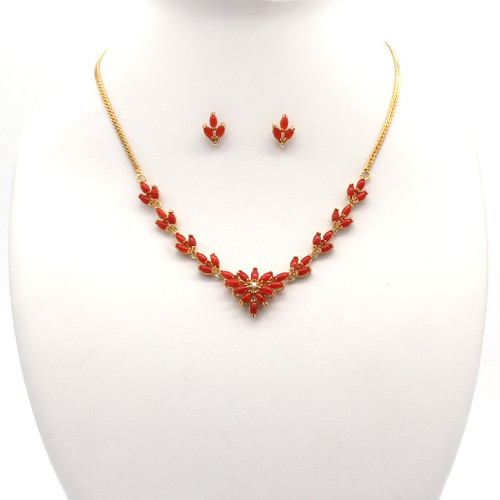 Akka coral and cubic zirconia necklace earrings set