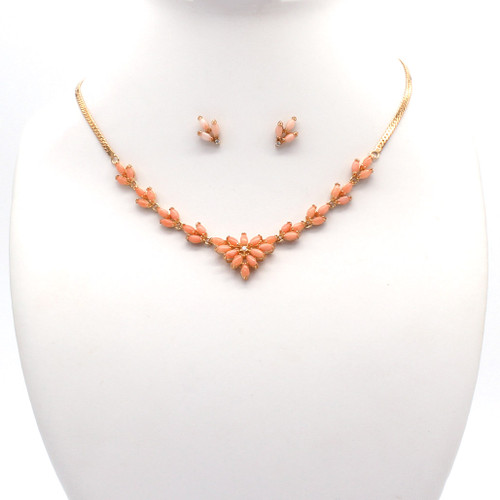 Pink coral stone and cubic zirconia necklace and earrings set