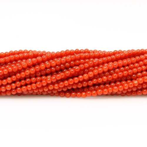 Natural red Italian round coral beads, 2 mm