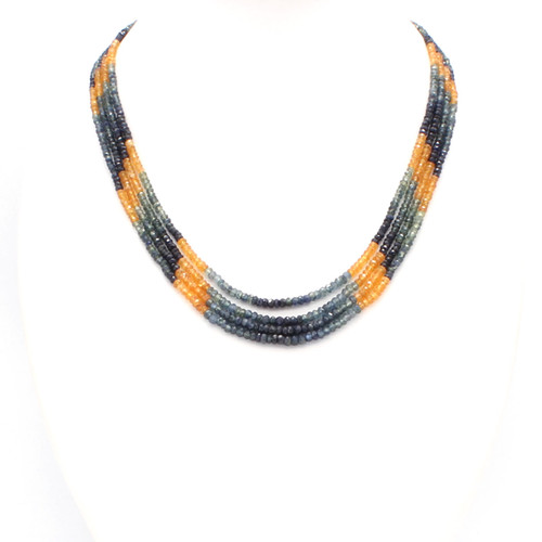 Bright yellow and blue sapphire necklace