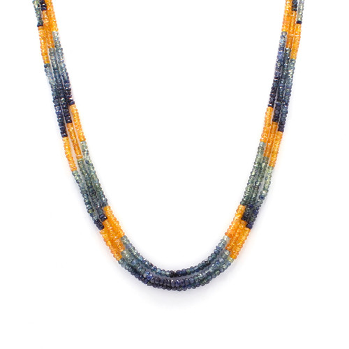 Three Layer Blue & Yellow Sapphire Necklace