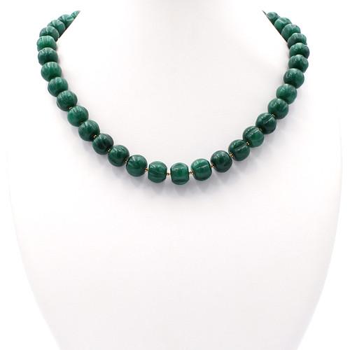 Dark green jade pumpkin beads and 22k gold bead necklace