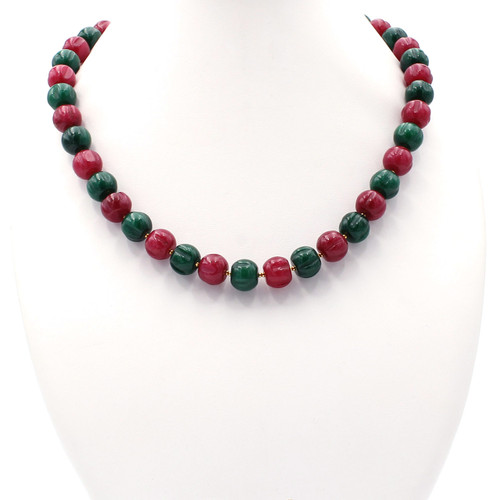 Red and green pumpkin jade bead and 22k gold necklace