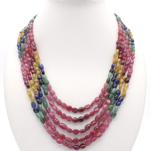 Smooth flat ruby emerald sapphire cabochon bead necklace