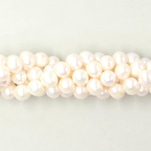 White oval potato freshwater pearls