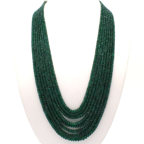 Long eight layer faceted emerald bead necklace