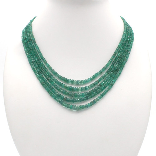 Natural light green emerald bead necklace