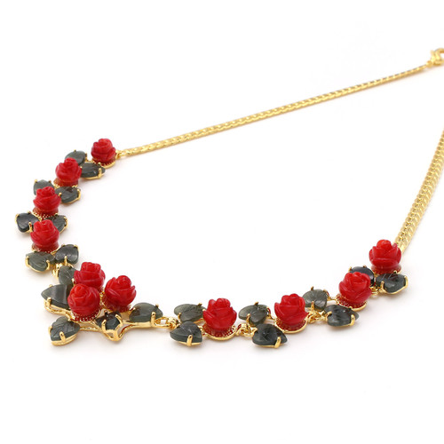 Italian red dyed coral rose flowers and jade leaf gold necklace