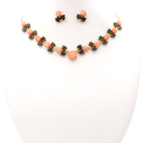 Dyed light pink coral flower blossoms and natural green jade leaves gold necklace and earrings