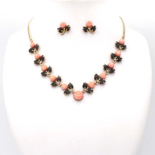 Light pink dyed coral flowers and jade leaf necklace and earrings, plated gold