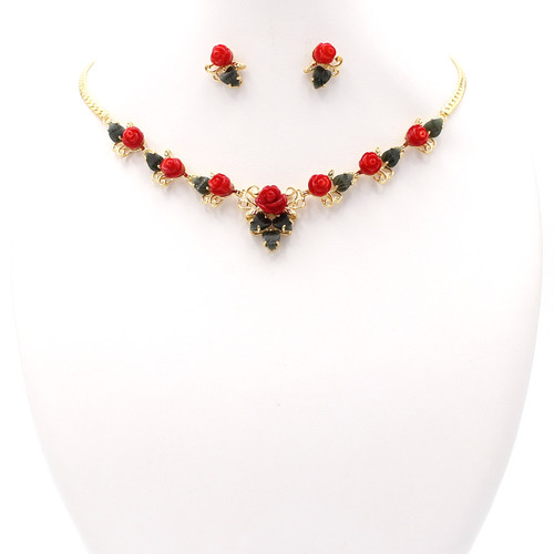 Dyed bright red coral rose buds with dark green jade leaves gold necklace and earrings