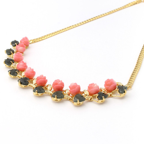Bright pink dyed coral roses and natural jade leaf gold necklace, carved by hand