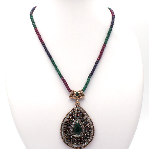 Ruby, emerald, and sapphire beaded necklace with teardrop-shaped CZ pendant