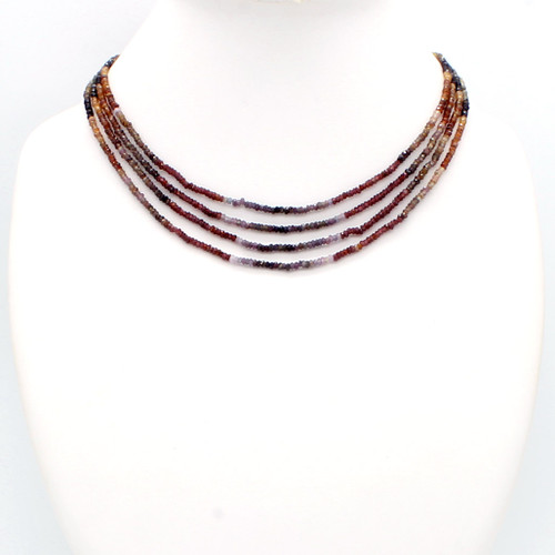 Faceted tundra sapphire bead necklace with white maroon brown yellow sapphire