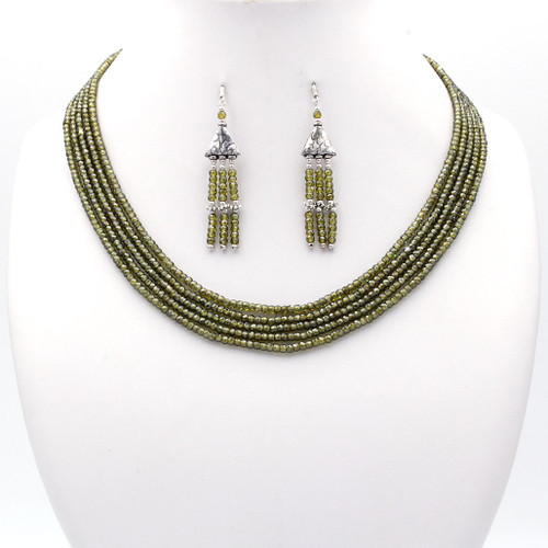 Light olive green faceted cubic zirconia bead necklace and tassel earrings