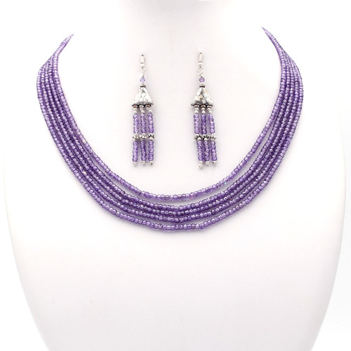 Light lilac purple faceted cubic zirconia bead necklace and tassel earrings