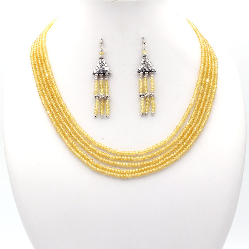 Light canary yellow faceted cubic zirconia bead necklace and tassel earrings