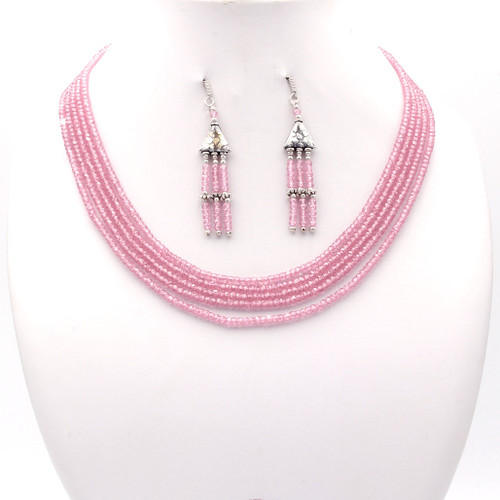 Light blush pink faceted cubic zirconia bead necklace and tassel earrings