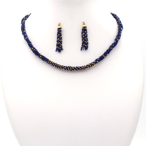 Blue Czech and 22k gold beads necklace and earrings set with tassel