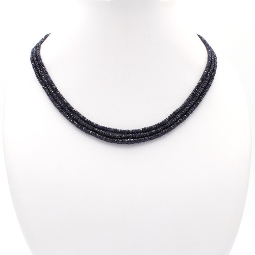 Natural dark blue faceted sapphire bead necklace