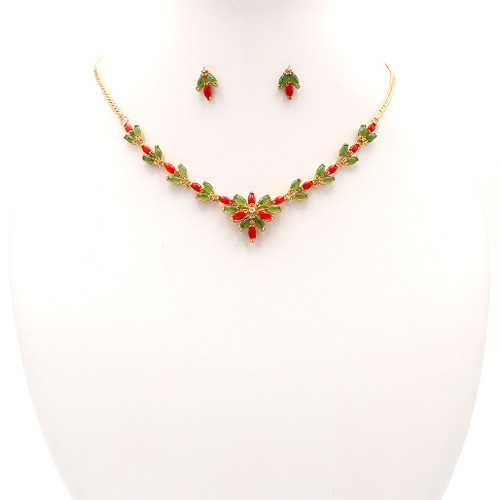 Matching necklace and earrings set, coral, jade and gold