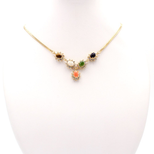 Semi-Precious Stone Gold Necklace