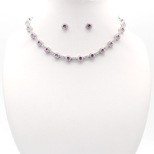Pink and white faceted cubic zirconia in a sterling silver setting with chain