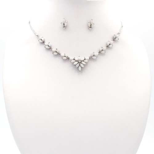 Opal stone and sterling silver necklace and earrings with cubic zirconia accent