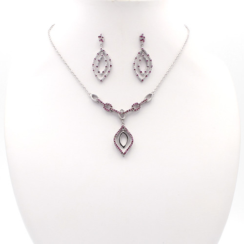 Sterling silver chain links with pink cubic zirconia in pointed teardrop design
