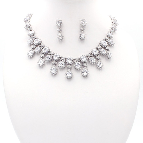 Sterling silver with large sparkling cubic zirconia. Matching necklace and earrings