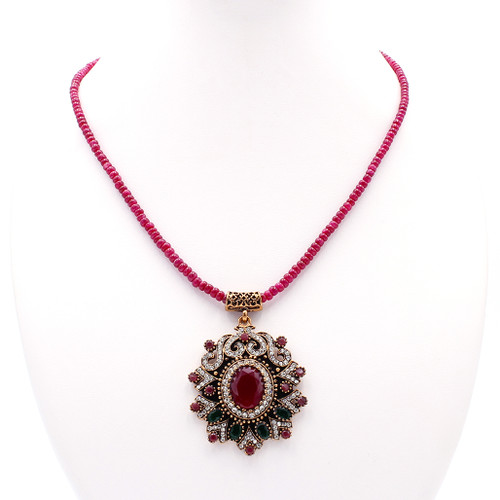 Natural graduated smooth ruby bead necklace with pendant