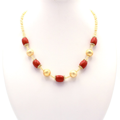 Red beads, freshwater pearls, 22k gold, and cubic zirconia necklace