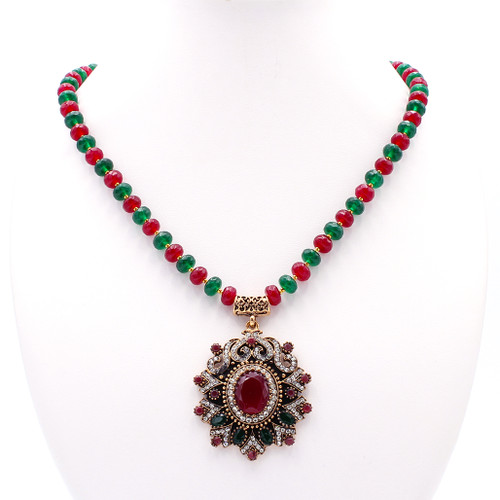 Red & Green Jade Necklace with Pendant