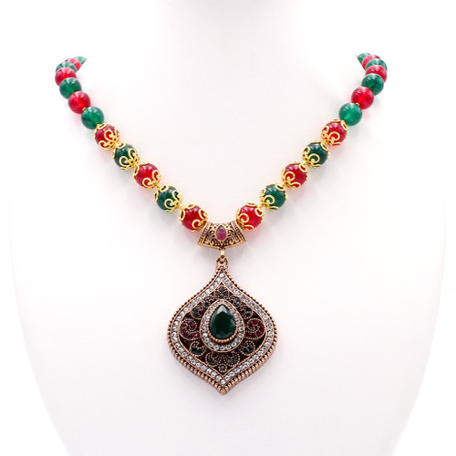 Dyed red and green round jade, 22k gold beads, large gem encrusted pendant