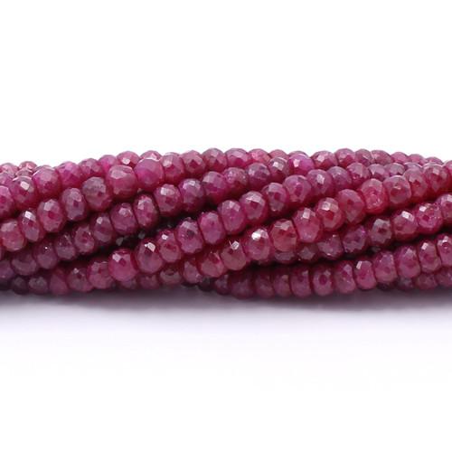 Dark purple red faceted Israeli cut ruby beads