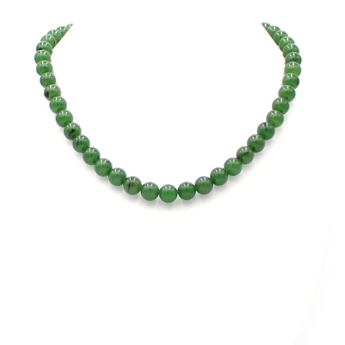 Bright green round Taiwan jade bead necklace