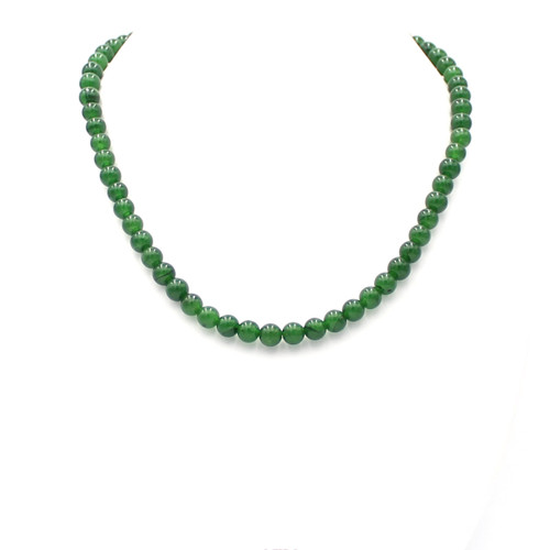 Small round bright green Taiwan jade bead necklace