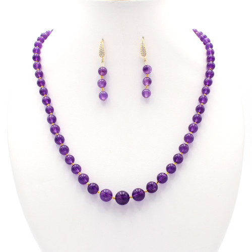 Natural amethyst bead necklace and earrings with 22k gold beads