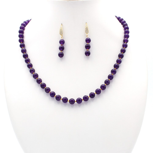 Natural round amethyst bead necklace and earrings