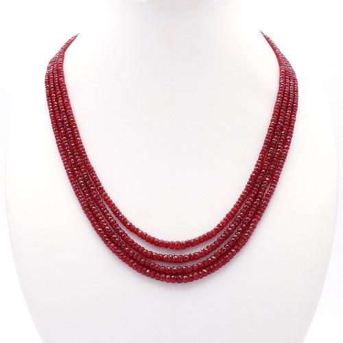 Natural four layer ruby bead necklace