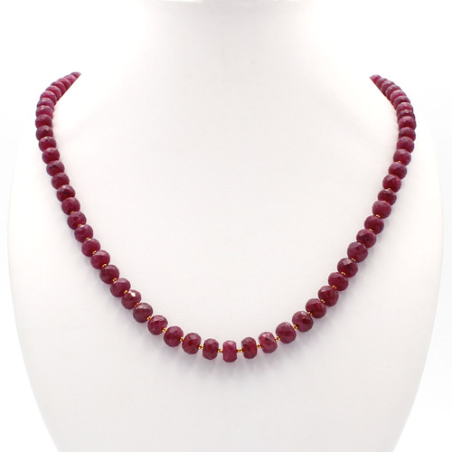 Dark red faceted rubies with 22k gold beads