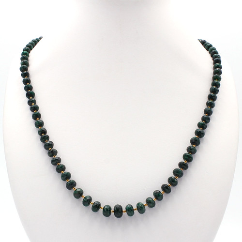 Dark green emerald necklace with 22k gold beads