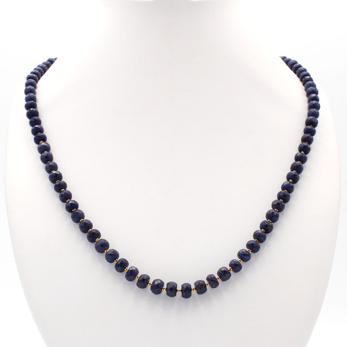 Dark blue faceted sapphire necklace with 22k gold beads