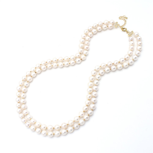 Two Layer Round Pearl Necklace