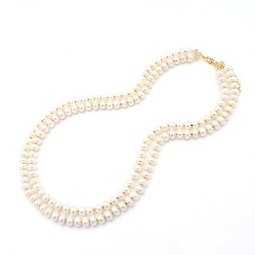 Two Layer Button Pearl Necklace
