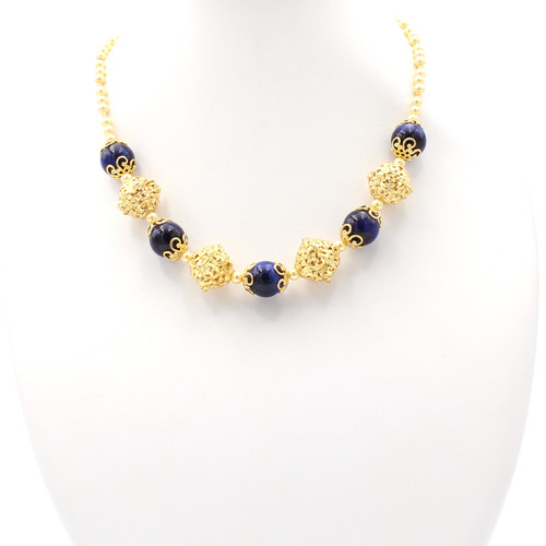 Ouranos Blue Tiger Eye Pearl Necklace