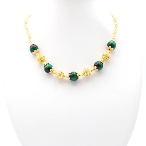 Terra Green Tiger Eye Pearl Necklace