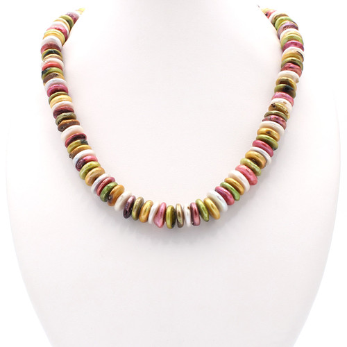 Colorful freshwater coin pearls necklace