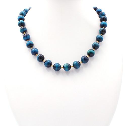 Natural blue tiger eye and 22k gold necklace
