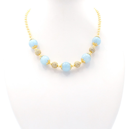 Natural light blue agate and cream freshwater pearl necklace with 22k gold